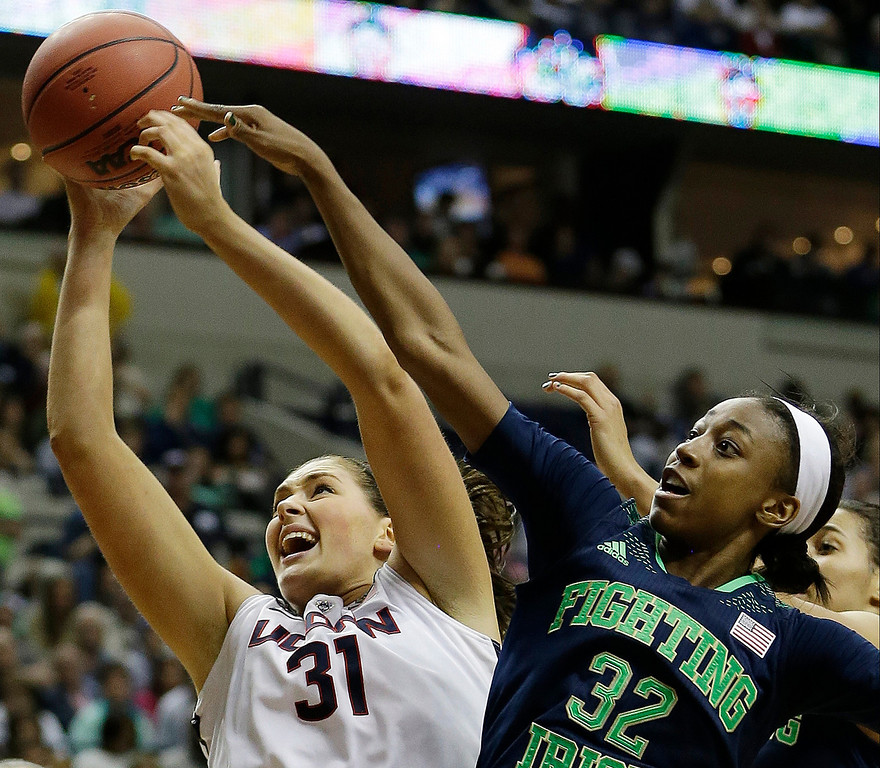 . Connecticut center Stefanie Dolson (31) rebounds a ball against Notre Dame guard Jewell Loyd (32) during the second half of the championship game in the Final Four of the NCAA women\'s college basketball tournament, Tuesday, April 8, 2014, in Nashville, Tenn. (AP Photo/Mark Humphrey)