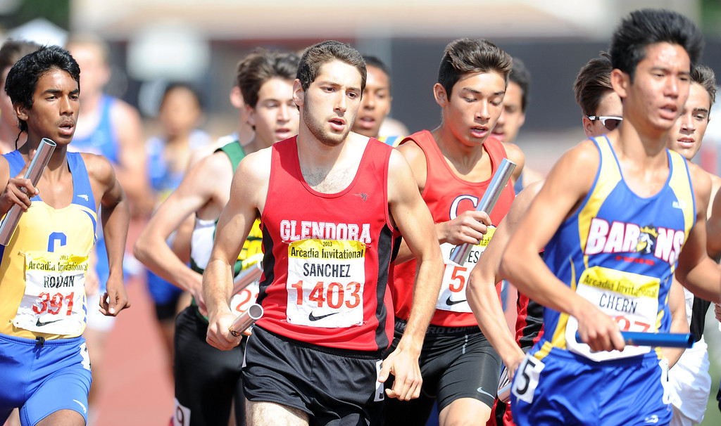 . Glendora\'s Ryan Sanchez runs in the distance medley in the during the Arcadia Invitational at Arcadia High School on Saturday, April 6, 2013 in Arcadia, Calif.  (Keith Birmingham Pasadena Star-News)