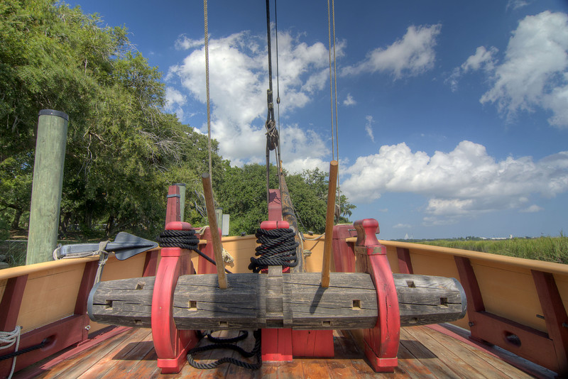 A device used for lifting heavy objects such as the anchor and cargo on the deck of The Adventure, a fully-functional replica of a 17th-century trading vessel, at Charles Towne Landing State Historic Park in Charleston, SC on Saturday, September 7, 2013. Copyright 2013 Jason Barnette