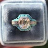 2.23ct Art Deco Emerald Cut and Turquoise Halo Ring 20