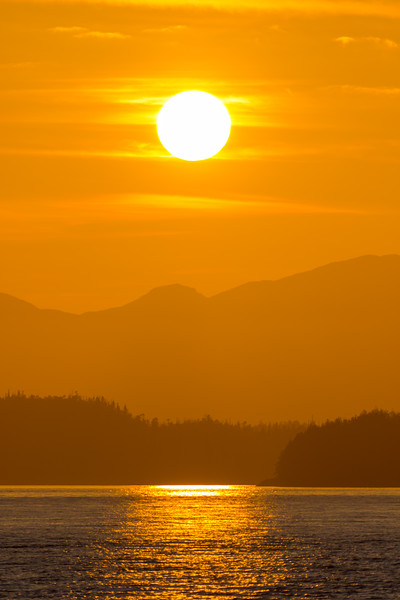 Sunset over the forested coastal islands around Ketchikan, Alaska