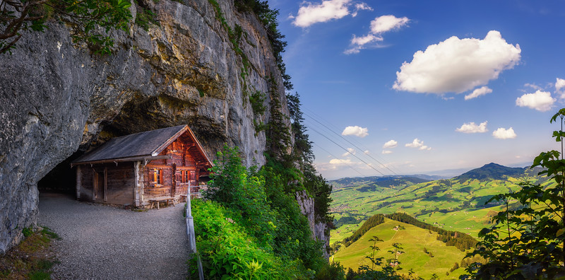 Historic cabin in the Wildkirchli cave in the Appenzell region of Switzerland