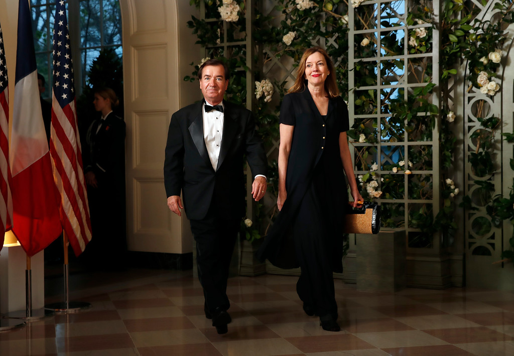 . Rep. Edward Royce, R-Calif., and Maria Royce arrive for a State Dinner with French President Emmanuel Macron and President Donald Trump at the White House, Tuesday, April 24, 2018, in Washington. (AP Photo/Alex Brandon)