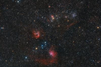 M38 - IC405 - IC420 - IC427 en omgeving