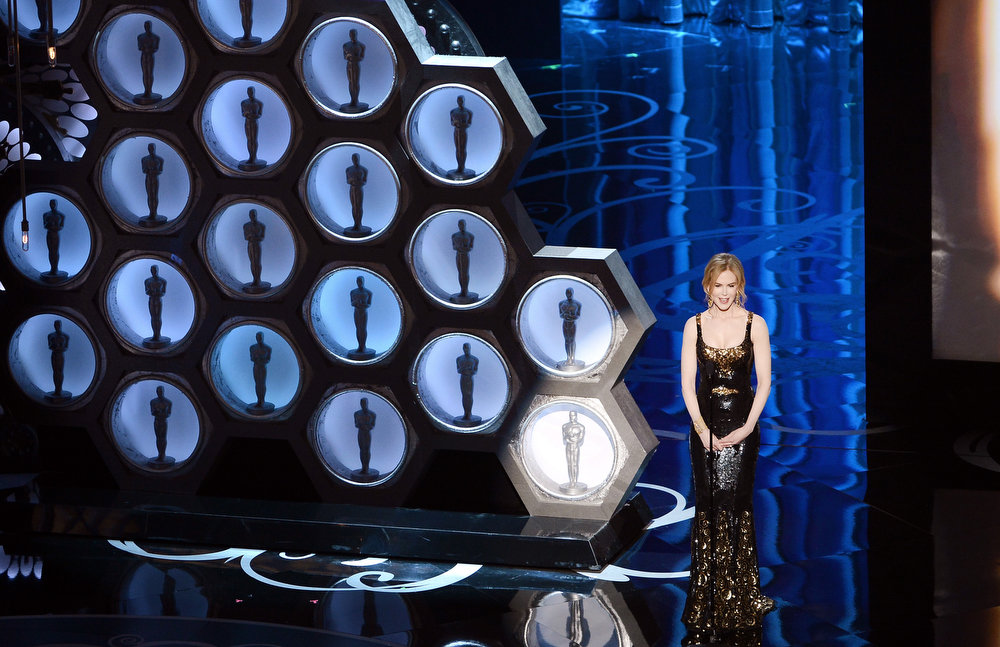 Description of . Actress Nicole Kidman presents onstage during the Oscars held at the Dolby Theatre on February 24, 2013 in Hollywood, California.  (Photo by Kevin Winter/Getty Images)