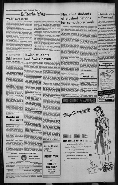 Daily Trojan, Vol. 34, No. 126, April 14, 1943