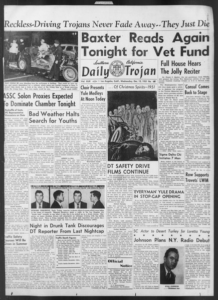 Daily Trojan, Vol. 43, No. 60, December 12, 1951