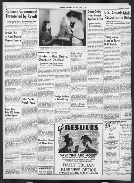 Daily Trojan, Vol. 32, No. 125, April 21, 1941