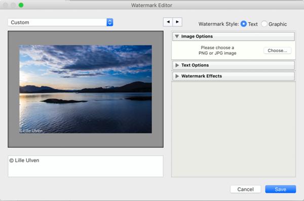 Watermark Editor - Image Options