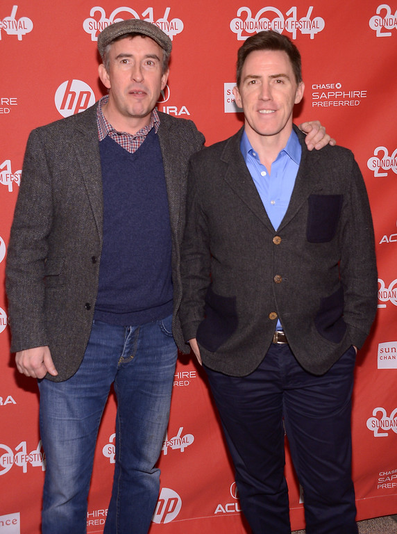""". Steve Coogan and Rob Brydon attend the premiere of \""""The Trip To Italy\"""" at the Eccles Center Theatre during the 2014 Sundance Film Festival on January 20, 2014 in Park City, Utah.  (Photo by Michael Loccisano/Getty Images for Sundance Film Festival)"""