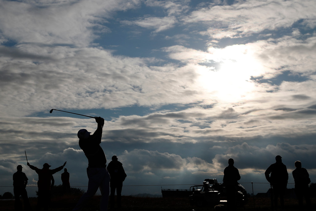 . Zander Lombard of South Africa plays a shot on the 16th hole during the second round of the British Open Golf Championship in Carnoustie, Scotland, Friday July 20, 2018. (AP Photo/Alastair Grant)