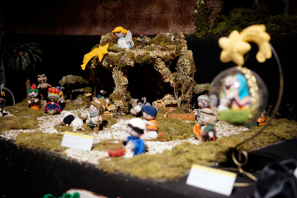 ". A detail of a nativity scene, made with the cotton yarn crocheting technique, is displayed at the ""100 Presepi\"", 100 nativity scenes exhibition, in Rome, Thursday, Nov. 23, 2017. The exhibition, consisting in 152 nativity scenes from all Italian regions and 40 other countries, will be visible over the Christmas festivities. (AP Photo/Andrew Medichini)"