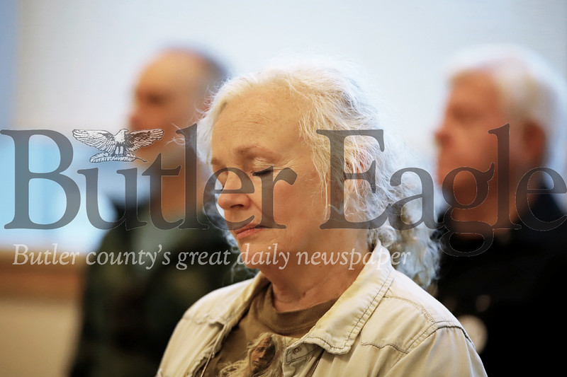 Anna Marie Allan of Oakland Township meditates with the group at the Maridon Museum. Seb Foltz/Butler Eagle