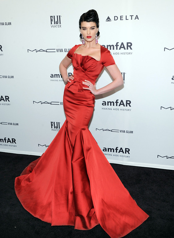 . Model Crystal Renn attends amfAR\'s New York gala at Cipriani Wall Street on Wednesday, Feb. 6, 2013 in New York. (Photo by Evan Agostini/Invision/AP)
