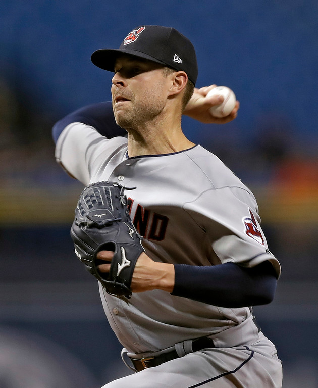 . Cleveland Indians pitcher Corey Kluber delivers to the Tampa Bay Rays during the first inning of a baseball game Monday, Sept. 10, 2018, in St. Petersburg, Fla. (AP Photo/Chris O\'Meara)