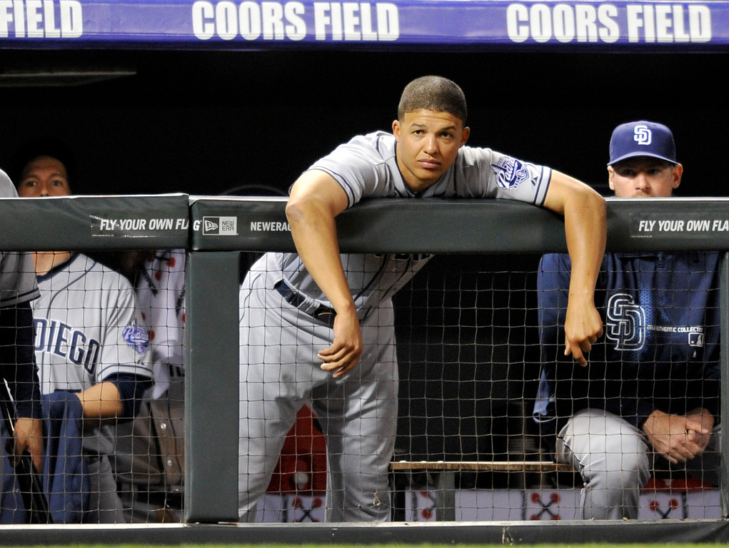 . San Diego Padres right fielder Will Venable looks on during the ninth inning of a baseball game against the Colorado Rockies, Saturday, April 6, 2013, in Denver. Colorado defeated San Diego 6-3. (AP Photo/Jack Dempsey)