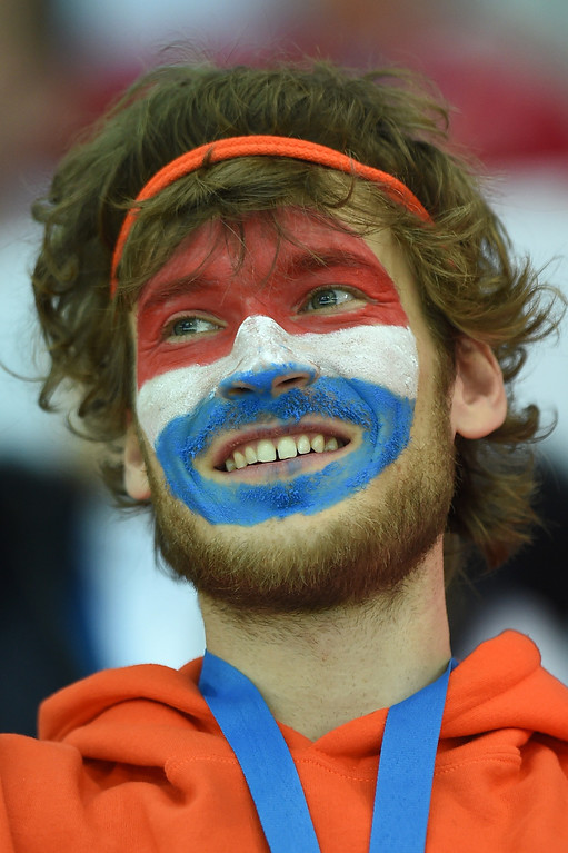 . A Dutch fan is seen during the Men\'s Speed Skating 1500 m at the Adler Arena during the Sochi Winter Olympics on February 15, 2014.            JUNG YEON-JE/AFP/Getty Images