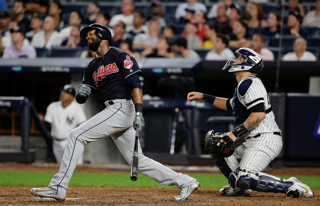 . Cleveland Indians center fielder Austin Jackson reacts as he flies out to right field against the New York Yankees during the seventh inning in Game 3 of baseball\'s American League Division Series, Sunday, Oct. 8, 2017, in New York. (AP Photo/Frank Franklin II)