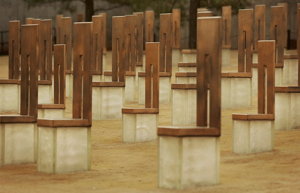 ". ""Field of Empty Chairs\"", part of the Oklahoma City National Memorial, that represents each of the victims who died as a result of the attack on the Alfred P. Murrah Federal Building, is seen January 20, 2006 in Oklahoma City, Oklahoma.   (Photo by Brandi Simons/Getty Images)"