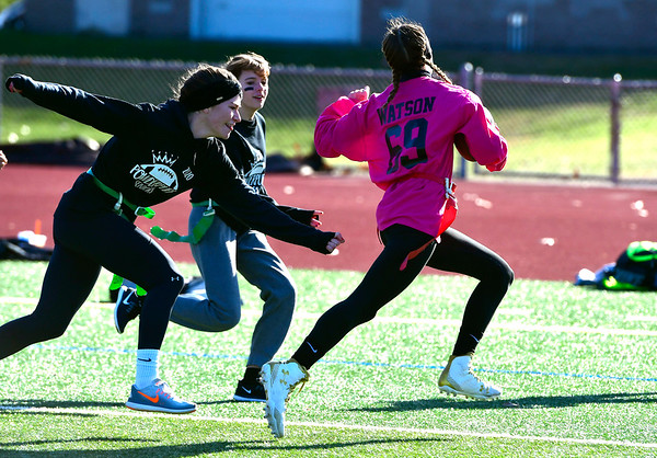 11/23/2019 Mike Orazzi | Staff Bristol Central High School's Ella Watson (69)scores a TD during Saturday's Powder Puff football game.