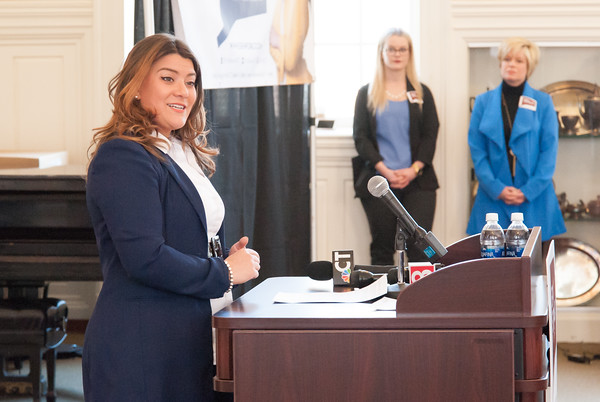 03/19/18 Wesley Bunnell   Staff New Britain Mayor Erin Stewart addresses attendees at CCSU's Founders Hall on Monday at noon after officially announcing her candidacy for Governor of CT in the 2018 election as her Chief of Staff Jody Latina stands in the background to the R.