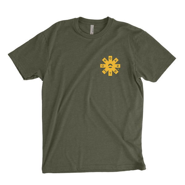 Organ Mountain Outfitters - Outdoor Apparel - Mens T-Shirt - Organ Mtn Lost & Found Tee - Military Green Front.jpg