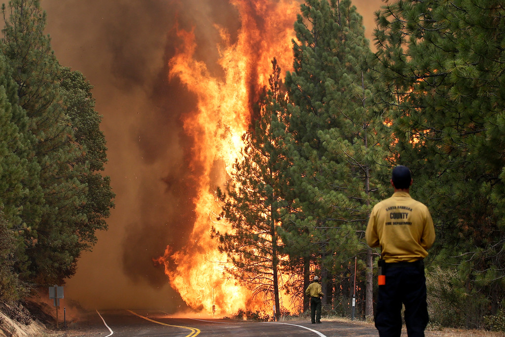 . The Rim Fire burns along Highway 120 near Yosemite National Park, Calif., on Sunday, Aug. 25, 2013. With winds gusting to 50 mph on Sierra mountain ridges and flames jumping from treetop to treetop, hundreds of firefighters have been deployed to protect this and other communities in the path of the Rim Fire raging north of Yosemite National Park. (AP Photo/Jae C. Hong)