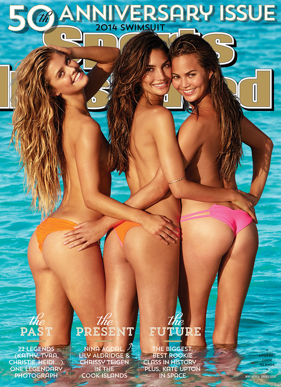 . This cover image taken by James Macari for Sports Illustrated shows models, from left, Nina Agdal, Lily Aldridge, and Chrissy Teigen on the cover of the 2014 Swimsuit Issue. The 50th Anniversary issue will go on sale on February 18. (AP Photo/Sports Illustrated, James Macari)