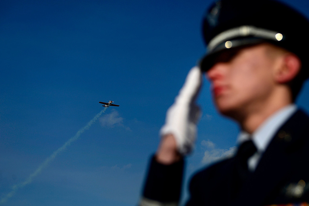 . A flyover during the funeral service for Colonel Fitzroy Newsum at Fort Logan National Cemetery on Monday, January 14, 2013. Newsum, who was 94, served as a Tuskegee Airman during his military service. AAron Ontiveroz, The Denver Post