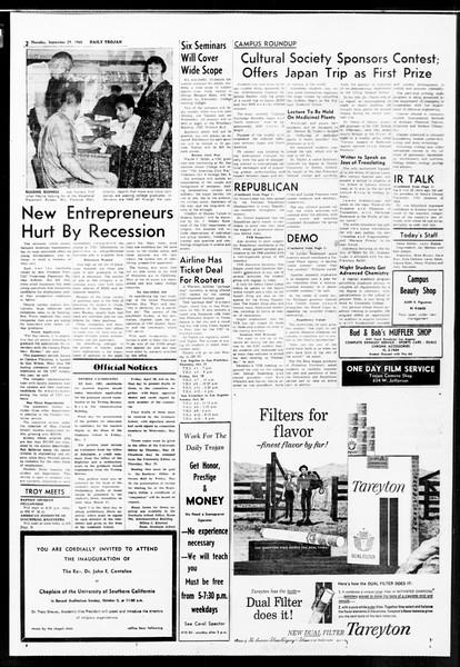 Daily Trojan, Vol. 52, No. 9, September 29, 1960
