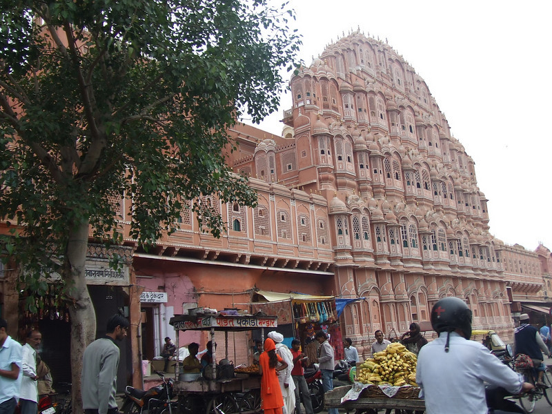 Hawa Mahal, Palace of Winds. It's designed in the form of the crown of Krishna.