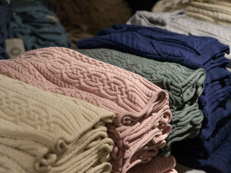 Woolen clothes for sale at a store, Galway, County Galway, Republic of Ireland