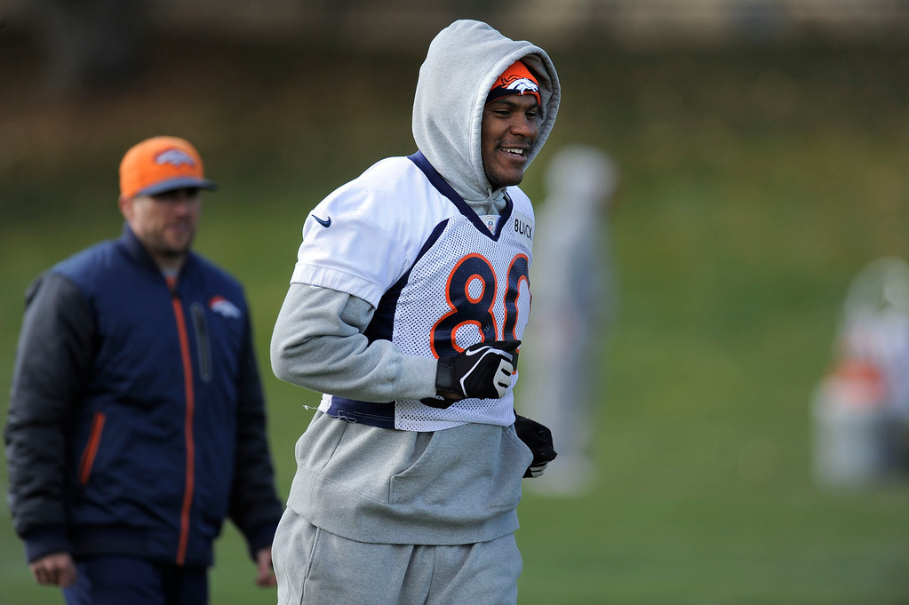 . Denver Broncos Julius Thomas gets in a jog during during practice November 4, 2013 at Dove Valley. (Photo by John Leyba/The Denver Post)