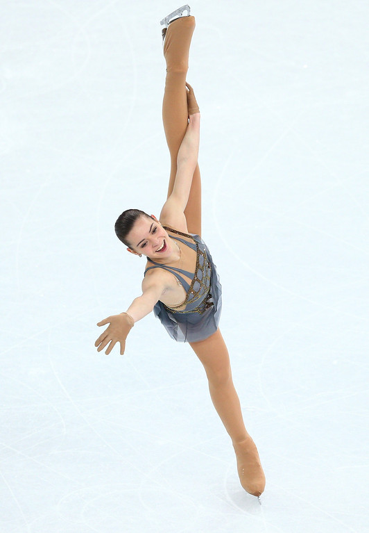 . Adelina Sotnikova of Russia competes in the Figure Skating Ladies\' Free Skating on day 13 of the Sochi 2014 Winter Olympics at Iceberg Skating Palace on February 20, 2014 in Sochi, Russia.  (Photo by Paul Gilham/Getty Images)
