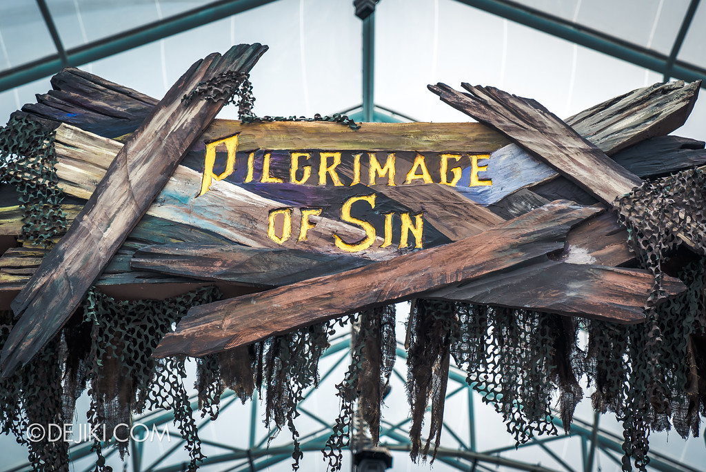 Halloween Horror Nights 7 Before Dark 1 / Pilgrimage of Sin marquee closeup