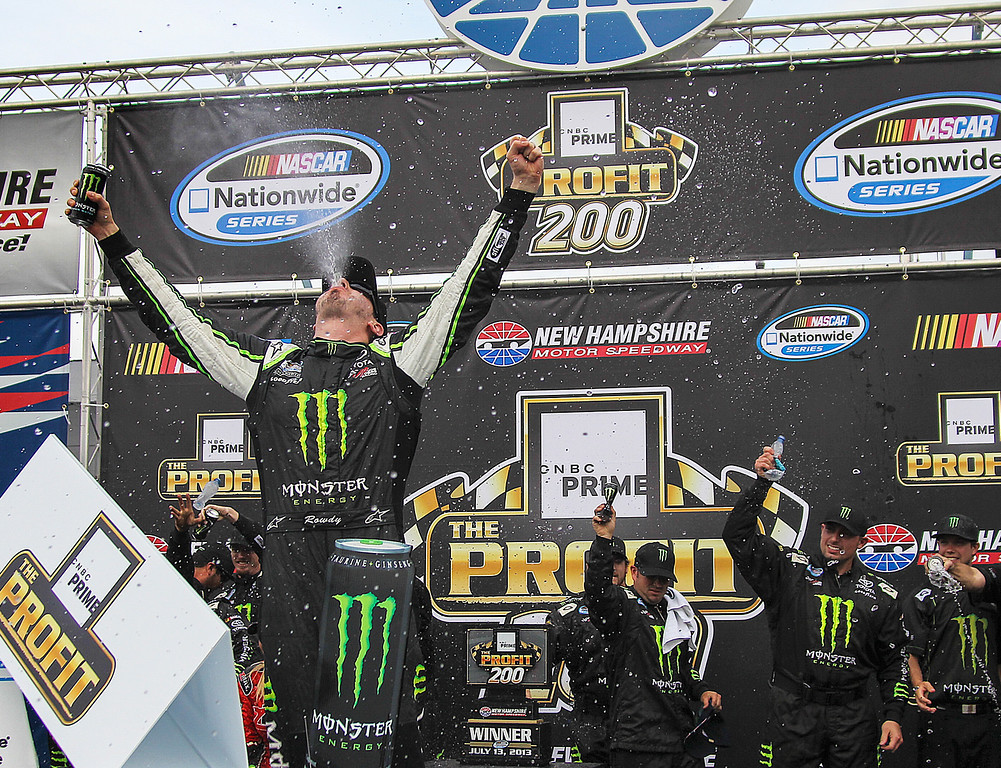 . Kyle Busch celebrates in Victory Lane after winning the NASCAR Nationwide Series auto race at New Hampshire Motor Speedway in Loudon, N.H., Saturday, July 13, 2013.  (AP Photo/Cheryl Senter)