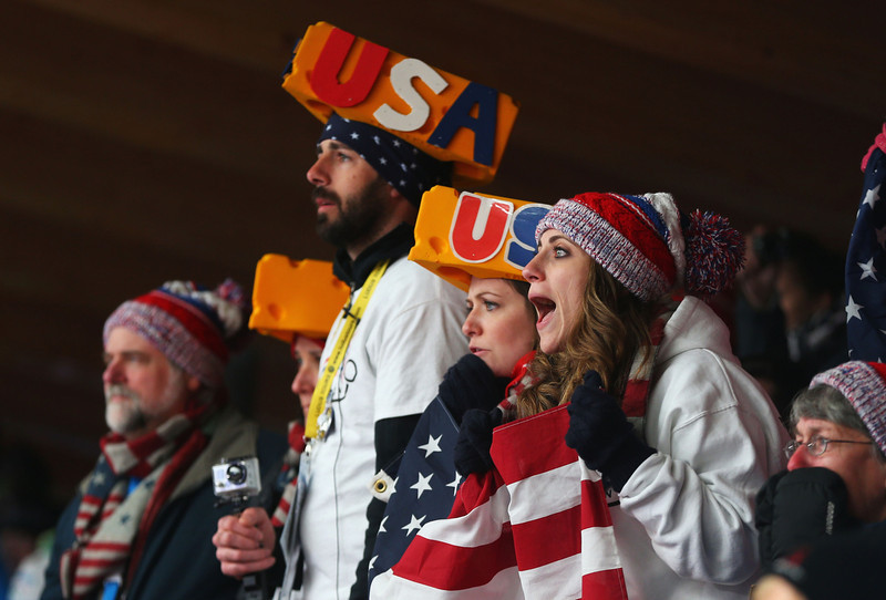 . American fans show their support during the Men\'s Skeleton on Day 8 of the Sochi 2014 Winter Olympics at Sliding Center Sanki on February 15, 2014 in Sochi, Russia.  (Photo by Mike Ehrmann/Getty Images)