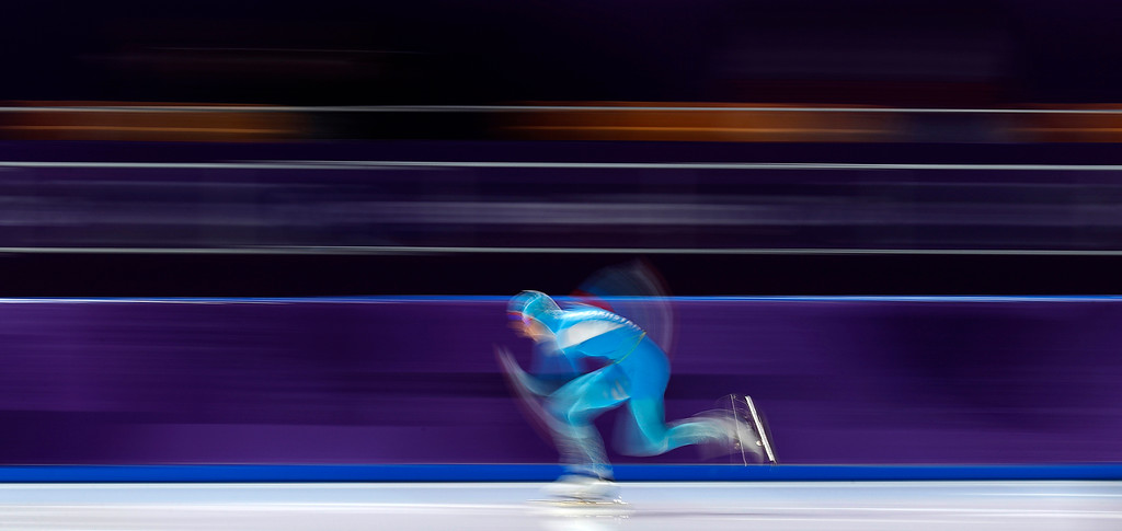 . Yekaterina Aydova of Kazakhstan competes during the women\'s 1,000 meters speedskating race at the Gangneung Oval at the 2018 Winter Olympics in Gangneung, South Korea, Wednesday, Feb. 14, 2018. (AP Photo/John Locher)