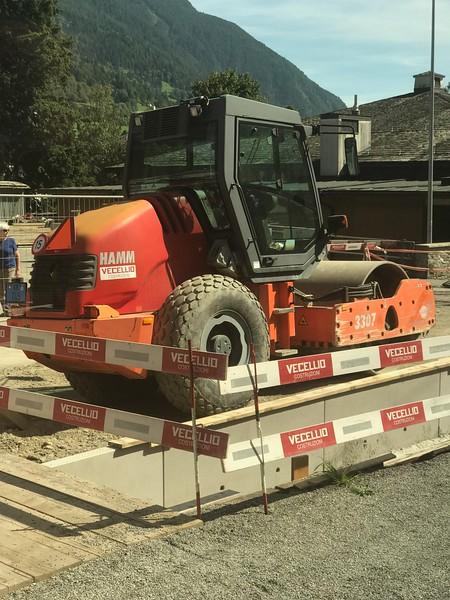 Construction equipment near the train track