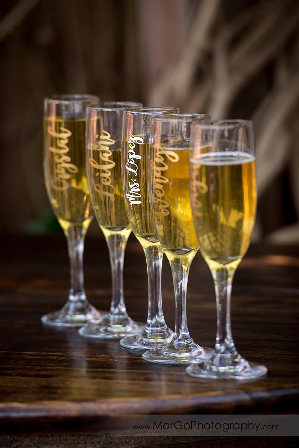 bride and bridesmaids' champagne glasses at Taber Ranch Vineyards