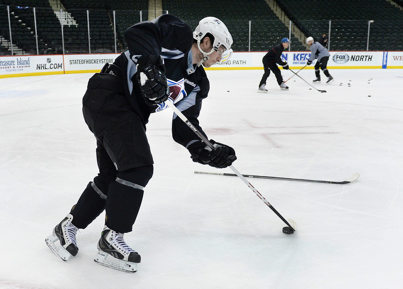 . Colorado center Matt Duchene skated during practice Wednesday. The Colorado Avalanche practiced  at the Xcel Energy Center in St. Paul Wednesday afternoon, April 23, 2014. (Photo by Karl Gehring/The Denver Post)