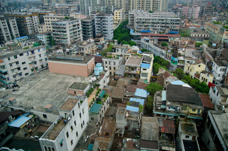 View from our hotel in Guangzhou - home for most of the trip.  Scenic views of laundry and morning rooftop exercisers.