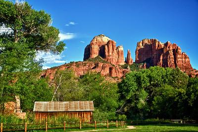 Water wheel, Barn, and Cathedral Rock