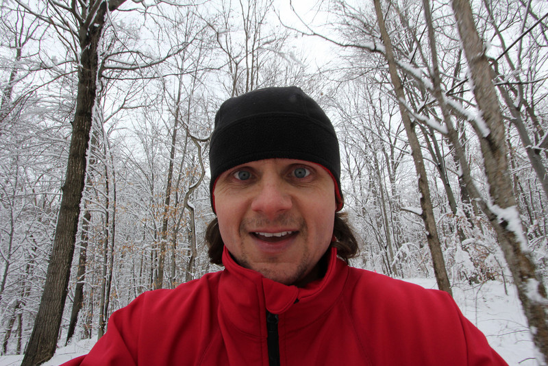 I went for a snowy run around the lake with my camera.  Self-portrait.  Little Lake Seneca, Germantown, MD