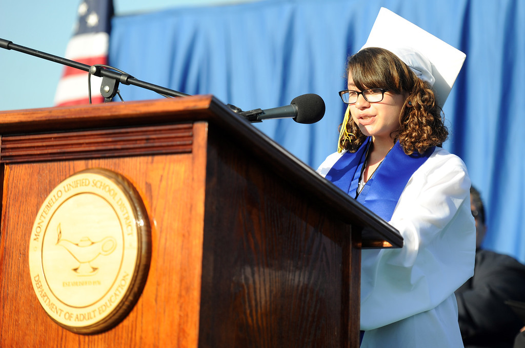 . Student Maritza Mora speaks during the Montebello High School commencement at Montebello High School on Thursday, June 20, 2013 in Montebello, Calif.  (Keith Birmingham/Pasadena Star-News)