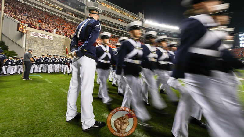 The Virginia Tech Corps of Cadets march onto the field during pre-game ceremonies. (Mark Umansky/TheKeyPlay.com)