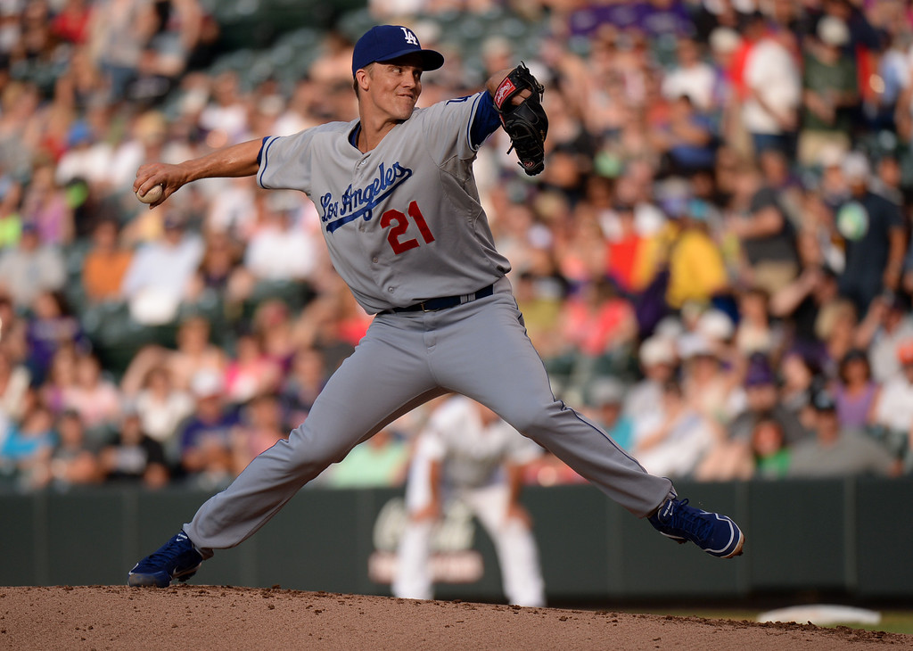 . DENVER, CO. - July 03: Zack Greinke of Los Angeles Dodgers (21) pitch against Colorado Rockies  at Coors Field. Denver, Colorado. July 3, 2013. (Photo By Hyoung Chang/The Denver Post)