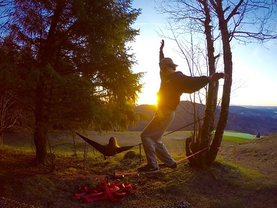 Slacklining in the Sunset