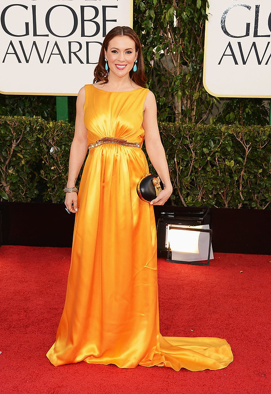 . Actress Alyssa Milano arrives at the 70th Annual Golden Globe Awards held at The Beverly Hilton Hotel on January 13, 2013 in Beverly Hills, California.  (Photo by Jason Merritt/Getty Images)