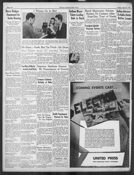 Daily Trojan, Vol. 27, No. 119, April 21, 1936